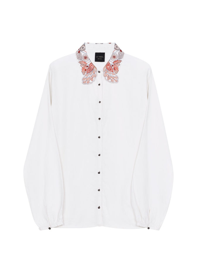 chemise blanche col brodé vegan