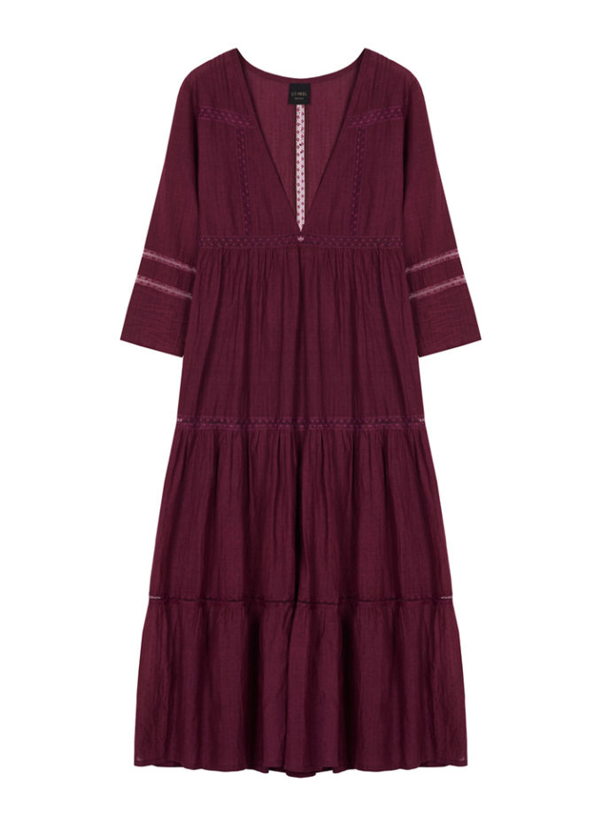 robe longue rouge à volants vegan