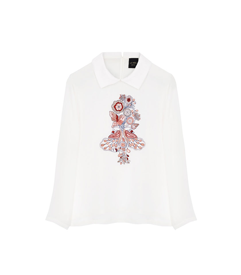 chemise blanche brodé fleurs vegan