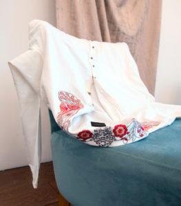 chemise blanche brodé fleurs vegan en coton biologique