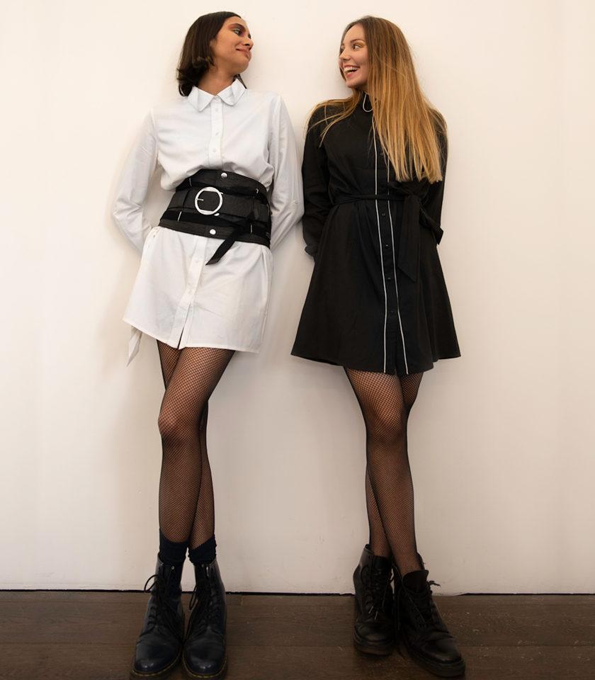 Robes Avika en coton biologique noire et blanche