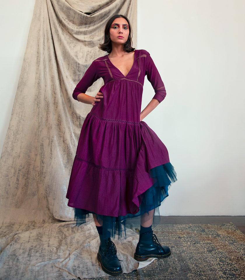 robe Ally violette en fibre de soja vegan