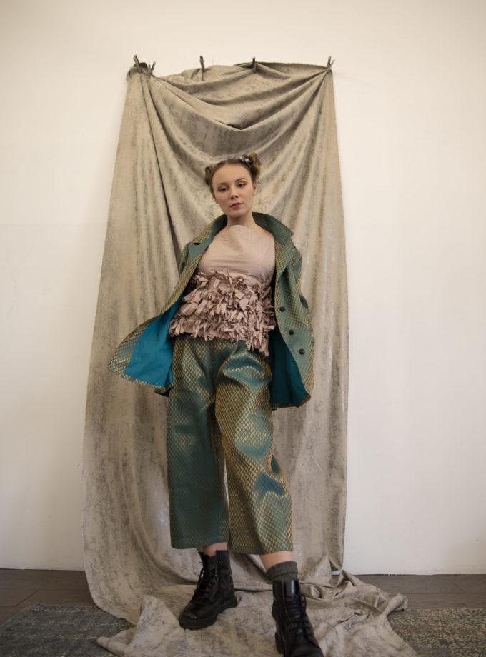 Pantalon et veste Aloa en polyester recyclé vegan vert et or