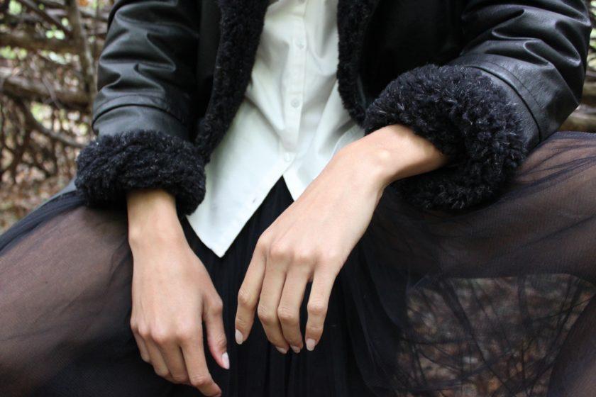Detail Manteau cuir murier